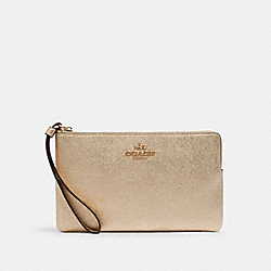 LARGE CORNER ZIP WRISTLET - C2189 - IM/METALLIC PALE GOLD