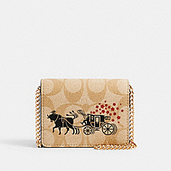 LUNAR NEW YEAR MINI WALLET IN SIGNATURE CANVAS WITH OX AND CARRIAGE - C2258 - IM/LIGHT KHAKI MULTI