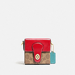 LUNAR NEW YEAR SQUARE BAG 10 IN SIGNATURE CANVAS - C2442 - BRASS/TAN ELECTRIC RED MULTI