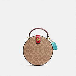 LUNAR NEW YEAR CIRCLE BAG IN SIGNATURE CANVAS - C2444 - BRASS/TAN ELECTRIC RED MULTI