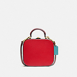 LUNAR NEW YEAR SQUARE BAG IN SIGNATURE CANVAS - C2446 - BRASS/TAN ELECTRIC RED MULTI