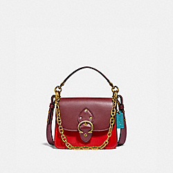 BEAT SHOULDER BAG 18 IN SIGNATURE CANVAS - C2449 - BRASS/TAN ELECTRIC RED MULTI