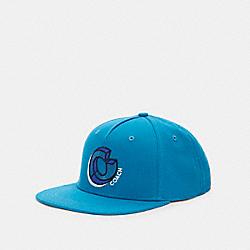 COACH C2451 Signature Twist Flat Brim Hat TEAL