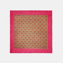 COACH C2490 Signature Lips Print Silk Square Scarf KHAKI/PINK