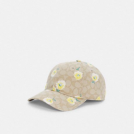 COACH C2494 HAT IN SIGNATURE DAISY PRINT LIGHT-KHAKI/YELLOW