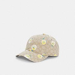 HAT IN SIGNATURE DAISY PRINT - C2494 - LIGHT KHAKI/YELLOW