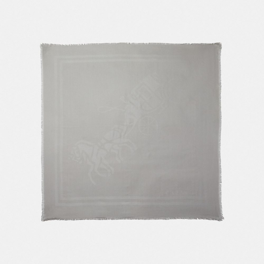 HORSE AND CARRIAGE PRINT JACQUARD OVERSIZED SQUARE SCARF