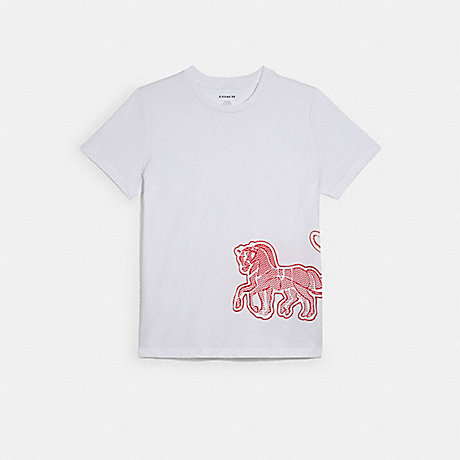 COACH C2513 T-SHIRT WITH HORSE AND CARRIAGE WHITE
