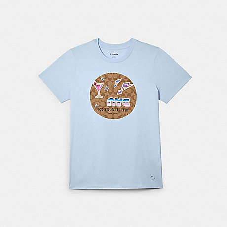 COACH T-SHIRT WITH SIGNATURE 80'S PATCHES - SKY - C2521