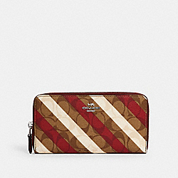 COACH C2533 Accordion Zip Wallet In Signature Canvas With Diagonal Stripe Print SV/KHAKI MULTI
