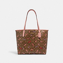 CITY TOTE IN SIGNATURE CANVAS WITH CANDY PRINT - C2534 - IM/KHAKI MULTI