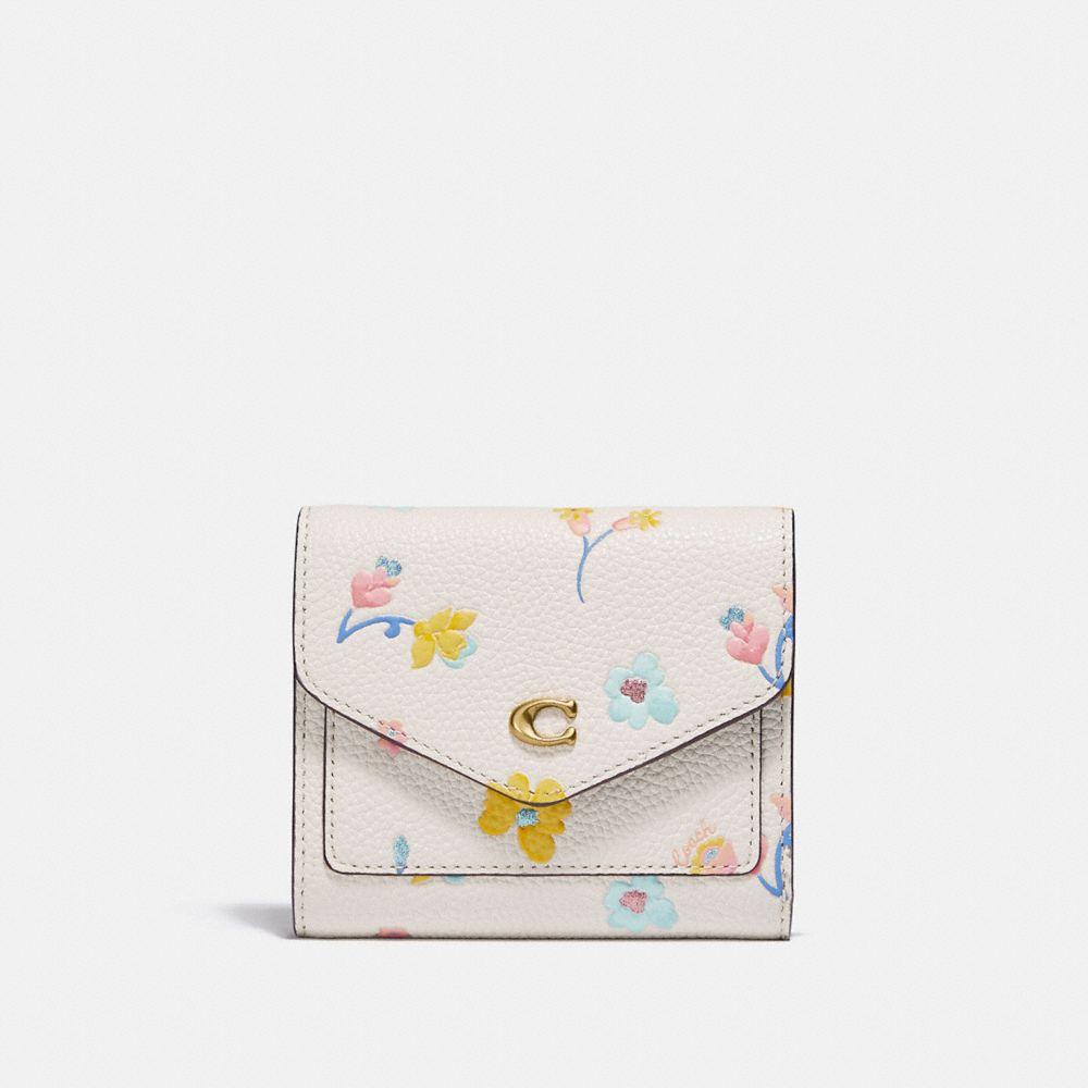 水彩花卉印花小型皮夾