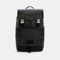 TRACK BACKPACK IN SIGNATURE CANVAS - C2712 - QB/CHARCOAL/BLACK