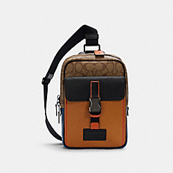 COACH C2721 - TRACK PACK IN COLORBLOCK SIGNATURE CANVAS QB/LIGHT TOFFEE KHAKI MULTI