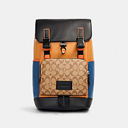 TRACK BACKPACK IN COLORBLOCK SIGNATURE CANVAS - C2722 - QB/LIGHT TOFFEE KHAKI MULTI