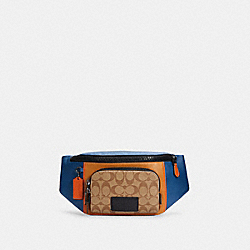 TRACK BELT BAG IN COLORBLOCK SIGNATURE CANVAS - C2724 - QB/LIGHT TOFFEE KHAKI MULTI