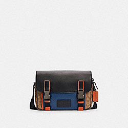 TRACK CROSSBODY IN COLORBLOCK SIGNATURE CANVAS - C2725 - QB/KHAKI TRUE BLUE MULTI