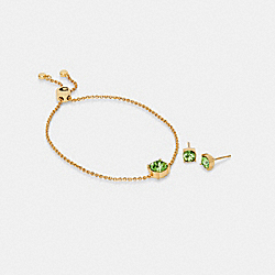 CRYSTAL STUD BRACELET AND EARRINGS SET - GD/GREEN - COACH C2741
