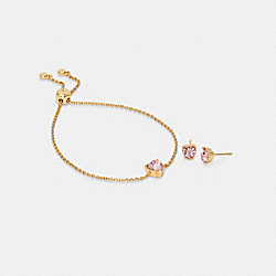 HEART CRYSTAL STUD BRACELET AND EARRINGS SET - GD/PINK - COACH C2742