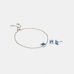 SQUARE CRYSTAL STUD BRACELET AND EARRINGS SET - SV/BLUE - COACH C2743