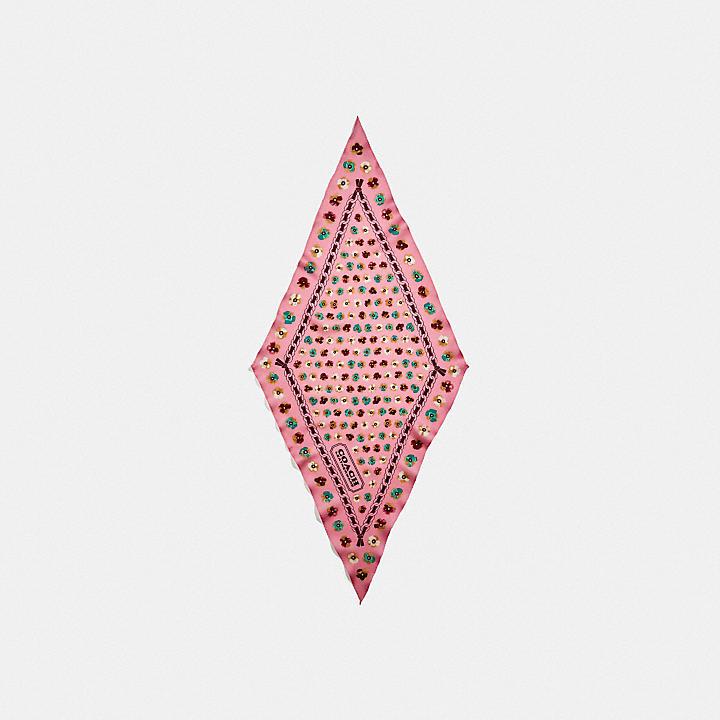 コーチ公式アウトレット   ペインテッド ティー ローズ フローラル プリント シルク ダイヤモンド スカーフ   ウェア/ファッション雑貨