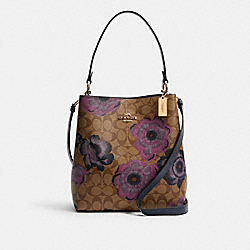 TOWN BUCKET BAG IN SIGNATURE CANVAS WITH KAFFE FASSETT PRINT - C2800 - IM/KHAKI PURPLE MULTI/OXBLOOD
