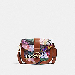 GEORGIE SADDLE BAG WITH PATCHWORK KAFFE FASSETT PRINT - C2804 - IM/KHAKI PINK MULTI