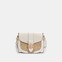 GEORGIE SADDLE BAG IN SIGNATURE CANVAS - C2806 - IM/LIGHT KHAKI CHALK