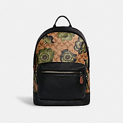 WEST BACKPACK IN SIGNATURE CANVAS WITH KAFFE FASSETT PRINT - C2809 - QB/KHAKI GREEN BLACK MULTI
