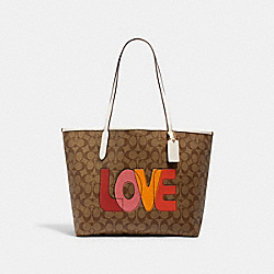 COACH C2810 City Tote In Signature Canvas With Love Print IM/KHAKI CHALK MULTI
