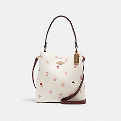 COACH C2811 Small Town Bucket Bag With Heart Floral Print IM/CHALK MULTI/WINE