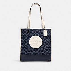 DEMPSEY TOTE IN SIGNATURE JACQUARD WITH PATCH - C2823 - IM/DENIM MULTI