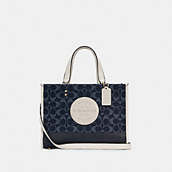 DEMPSEY CARRYALL IN SIGNATURE JACQUARD WITH PATCH - IM/DENIM MULTI - COACH C2826