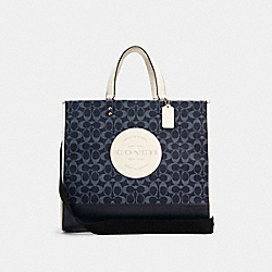 DEMPSEY TOTE 40 IN SIGNATURE JACQUARD WITH PATCH - IM/DENIM MULTI - COACH C2827