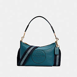 DEMPSEY SHOULDER BAG WITH PATCH - IM/TEAL INK - COACH C2829