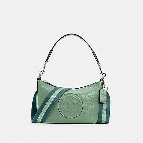 COACH C2829 DEMPSEY SHOULDER BAG WITH PATCH SV/WASHED-GREEN