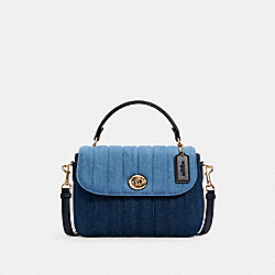 MARLIE TOP HANDLE SATCHEL WITH QUILTING - C2832 - IM/DENIM MULTI