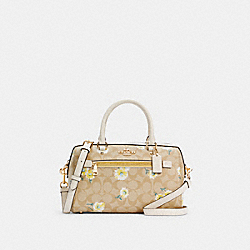 ROWAN SATCHEL IN SIGNATURE CANVAS WITH DAISY PRINT - IM/LIGHT KHAKI CHALK MULTI - COACH C2849