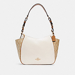 RORI SHOULDER BAG IN COLORBLOCK SIGNATURE CANVAS - IM/CHALK/LIGHT KHAKI - COACH C2855