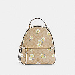 JORDYN BACKPACK IN SIGNATURE CANVAS WITH DAISY PRINT - C2856 - IM/LIGHT KHAKI CHALK MULTI