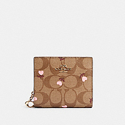 COACH C2867 Snap Wallet In Signature Canvas With Heart Floral Print IM/KHAKI RED MULTI
