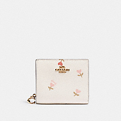 COACH C2868 - SNAP WALLET WITH HEART FLORAL PRINT IM/CHALK MULTI
