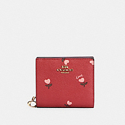 COACH C2868 Snap Wallet With Heart Floral Print IM/WINE MULTI