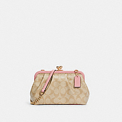 NORA KISSLOCK CROSSBODY IN SIGNATURE CANVAS - C2876 - IM/LIGHT KHAKI/BUBBLEGUM