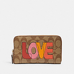 COACH C2877 Medium Id Zip Wallet In Signature Canvas With Love Print IM/KHAKI CHALK MULTI