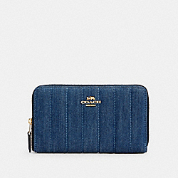MEDIUM ZIP AROUND WALLET WITH QUILTING - IM/DENIM MULTI - COACH C2883