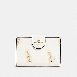 COACH C2885 Medium Corner Zip Wallet With Lipstick Print IM/CHALK MULTI