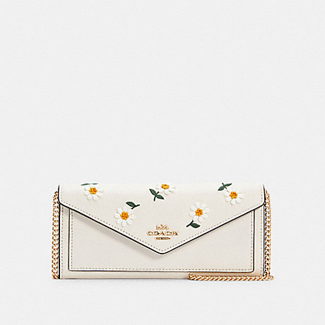 COACH C2888 SLIM ENVELOPE WALLET WITH CHAIN WITH DAISY EMBROIDERY IM/CHALK MULTI
