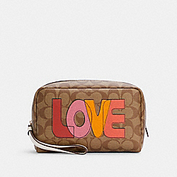 COACH C2891 Boxy Cosmetic Case In Signature Canvas With Love Print IM/KHAKI CHALK MULTI