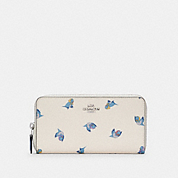 DISNEY X COACH ACCORDION ZIP WALLET WITH CINDERELLA FLYING BIRDS PRINT - SV/CHALK MULTI - COACH C2893